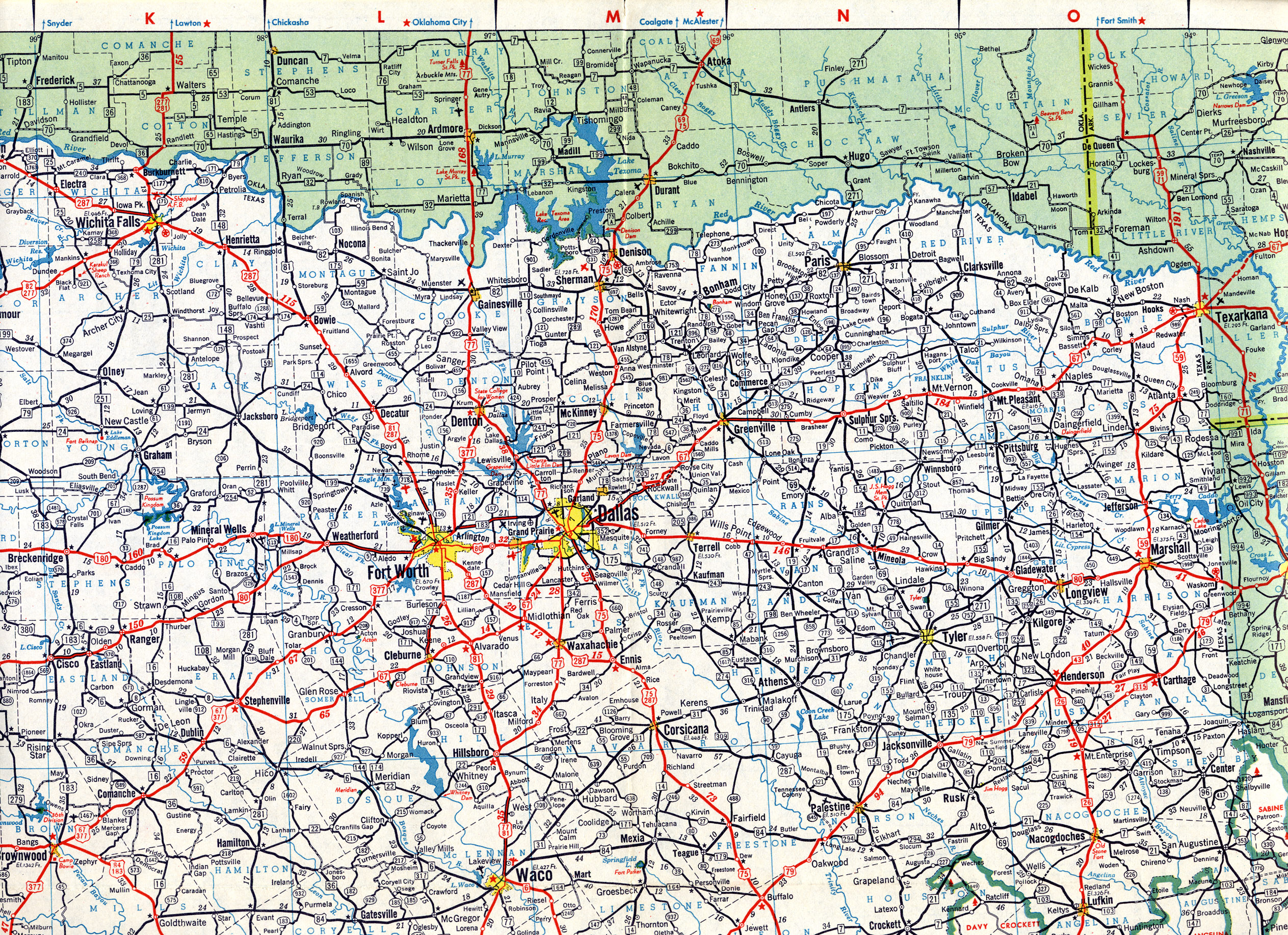 Road Maps Online Map - North texas map